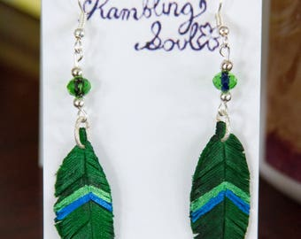 Green and Blue Leather Feather Earrings