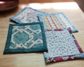 Quilted Coasters Set Hand Embroidered Blue Raspberry Red Home Dec Batik Fabric Coasters Fiber Art Mini Quilts Modern Quilt Drink Coasters