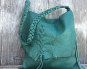 Distressed Teal Leather Rustic Shoulder Bag by Stacy Leigh