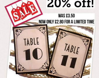 20% off, Gatsby Table Numbers, Hollywood Wedding, 1920s Table Numbers, 1920s Wedding, Gatsby Theme, Vintage Wedding Ideas, Art Deco Cards