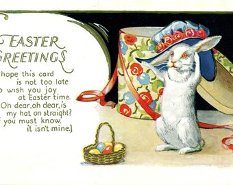 POSTCARD EASTER GREETINGS Antique with Gold Metallic Embossed Features Bunny Rabbit with Easter Hat