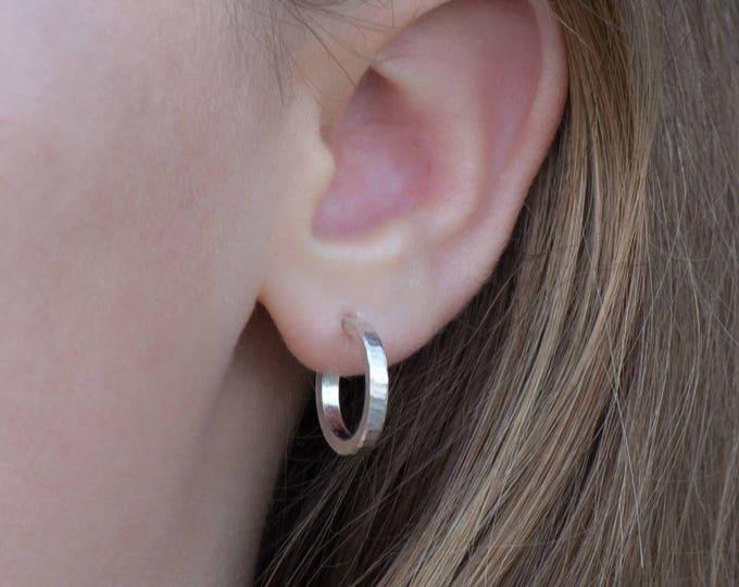 Sterling silver hoop earrings 16mm x 2mm