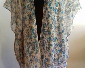 Summer Kimono,Cover-up,Jacket,Cardigan,Tunic,Blue, Floral,Light,Boho,Fairy,Beach,Loose Fit