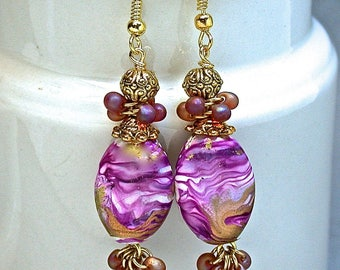 Vintage Japanese Magenta Purple Pink Lucite Cluster Bead Earrings Oval Twist, Japanese Miyuki Iridescent Glass Beads, Gold Ear Wires