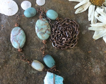 Amazonite //Talisman // Rough Stone Necklace // Wire Wrapped Pendant // Chakra Jewelry // Bohemian Necklace // Mineral Jewelry // Healing