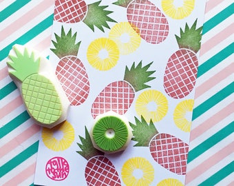 pineapple rubber stamp set. pineapple slice stamp. tropical fruit hand carved stamps. card making. birthday favor. summer crafts. set of 2