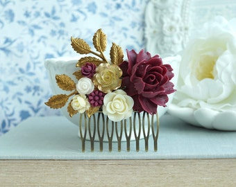 Burgundy Red Flower Gold Comb Marsala Red Antiqued Gold Hair Comb Maroon Red Cream Rose Rustic Dark Red Gold Leaf Branch Bridal Hair Comb