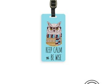 Luggage Tag Keep Calm Be Wise Hipster Owl Metal Luggage Tag  With Printed Custom Info On Back, Single Tag