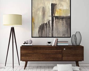 Abstract Painting Large Original Painting 36 x 36 Modern Abstract Art Brown Taupe Beige Square Oil Painting Earth Tones by Sky Whitman