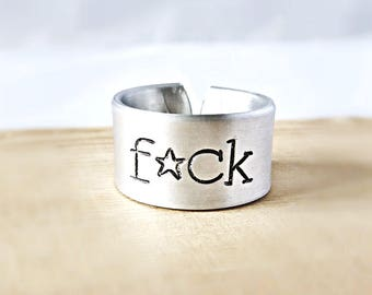Funny Statement Jewelry, Wide Adjustable Band, Fuck Ring, Sarcastic Jewelry, Swear Words, Profanity, Curse Words, Personalized, Mature