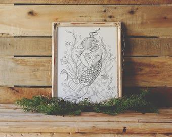 reading mermaid coloring page instant download print your own coloring pages adult coloring book - Print Your Own Coloring Book