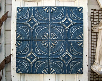 Tin Ceiling Tile. Tin Anniversary Gift.  FRAMED 2'x2'  Metal tile. Antique Architectural salvage, Indigo Blue Wall Decor Art