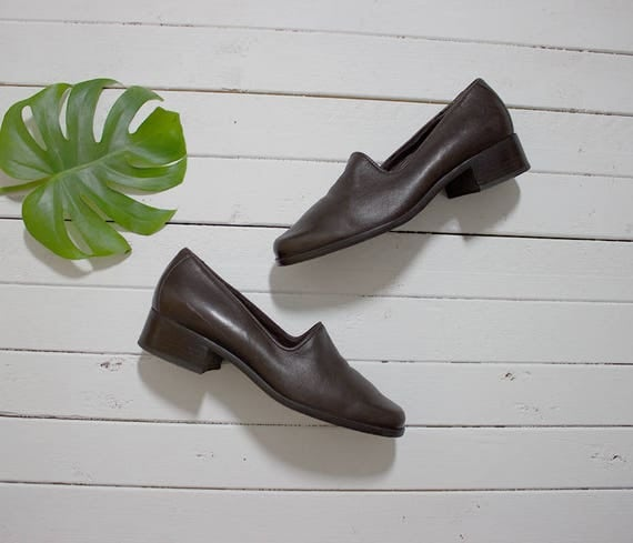 Vintage Leather Loafers 7 / Leather Glove Shoes / Brown Leather Flats / Leather Slip Ons / Minimal Shoes