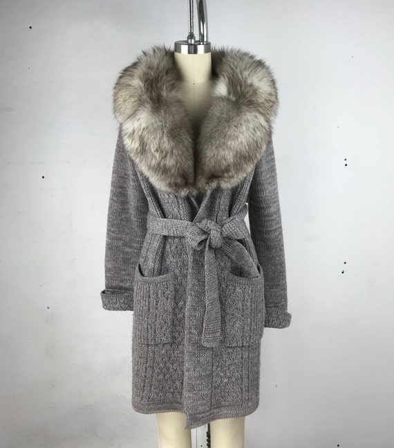 70s Fox Fur Trim Long Gray Belted Cardigan