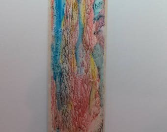 Multicolored Original Art Painted Bookmark Abstract ORIGINAL. Small Art
