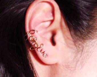 Personalized Ear Crawler Earrings-Rose Gold Word Ear Climber Earrings-Gold Word Ear Cuff-Silver Cursive Word Earrings-Word Ear Sweep-Ear Pin