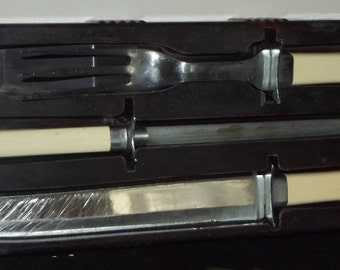 Vintage Carving Set with Bakelite Handles Celluloid Holder