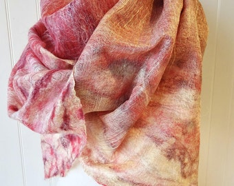 Wrap, Strawberries and champagne, Pink Wool Shawl, Felted Scarf, Silk Shawl, Merino Shawl, Accessories For Her, Designer Scarf, Warm Scarf
