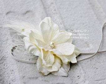 baby headband, newborn headband, vintage feather headband, ivory headband, flower girl headband