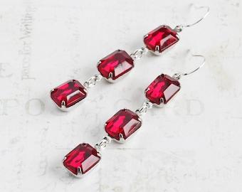 Long Ruby Red Rhinestone Dangle Earrings on Silver Plated Hooks