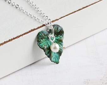 Small Aged Green Patina Leaf Pendant Necklace on Silver Plated Chain, Choose Pearl Color