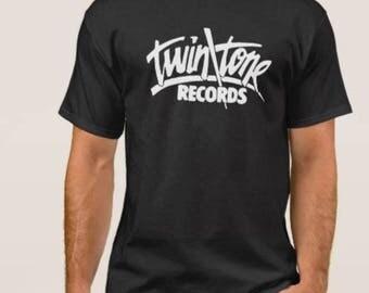 Twin one      Records     T shirt screen print short sleeve     shirt cotton