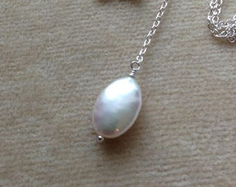 Freshwater Pearl Sterling Silver/18K Gold Filled Minimal Layering Necklace 886