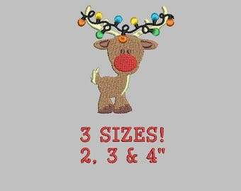 Buy 1 Get 1 Free!  Reindeer Embroidery Design Christmas Lights Embroidery Design Christmas Embroidery Design Mini Reindeer Small Reindeer