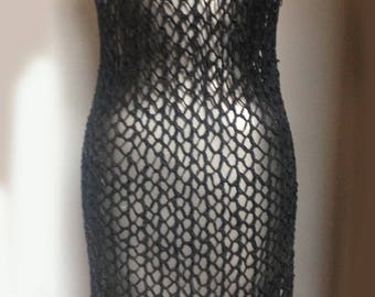 vintage grey knotted / crochet / knit leather dress / top