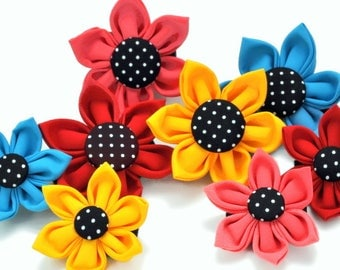 Dog Collar Flower: Black & White Polka Dots