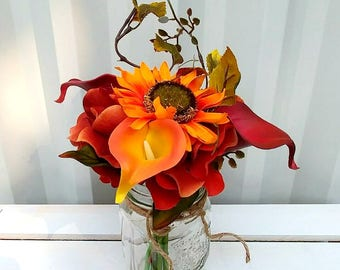 Wedding centrepiece, Fall Mason jar flower arrangement, Reception table centrepiece, Rustic fall wedding flowers, Wedding decor