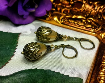 Champagne Pearl Vintage Gold Filigree Bridal Earrings, Victorian Steampunk, Ivory Cream Bronze Teardrop Edwardian, Titanic Temptations 17014