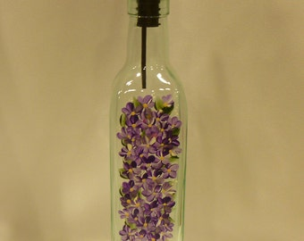 Hand Painted Olive Oil Bottle Dispenser Purple Daisies Flowers Butterfly