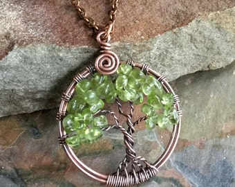 Petite-Mini-Small Peridot Tree of Life Pendant Antiqued Copper,Wire Wrapped Peridot Tree of life Necklace,August Birthstone,Peridot Necklace