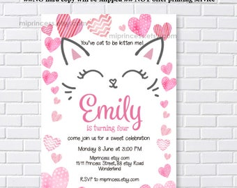 Cat invitation, Cat Party, kitten CAT, sweetheart Birthday Invitation, kids, 1st 2nd 3rd 4th 5th 6th 7th 8th 9th 10th  party ,  card 1256