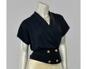 30% OFF SALE 80s Blouse 1980s Black Crepe Wrap Blouse Short Sleeve Double Breasted Cummerbund Waist Peplum Blouse
