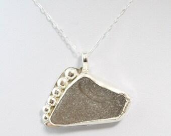 Gray Sea Glass Necklace, Sea Glass Necklace, Sea Glass Pendant, Beach Glass Necklace, Beach Glass Pendant, Sea glass jewelry, Beach Glass
