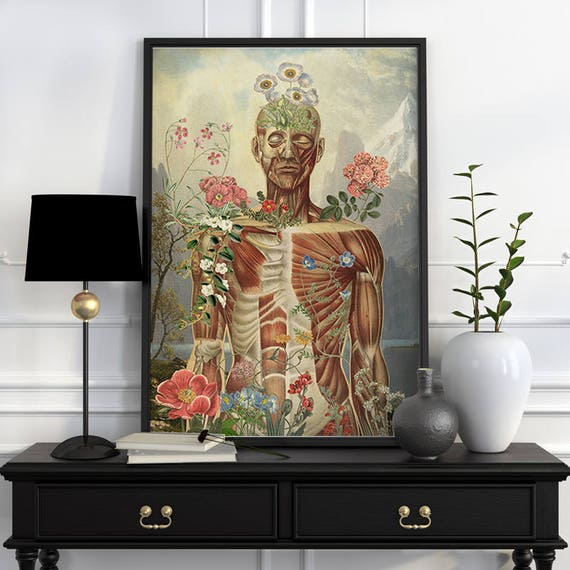 Nature is all around Muscles study art Wall decor art, Anatomical art decor, anatomical art, Muscles Wall flower SKA143WA3