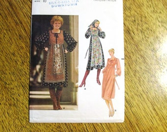 """BOHO 1970s Peasant Dress / Empire Line Gypsy Gown & Head Scarf - Size 10 (Bust 32.5"""") - VINTAGE Sewing Pattern Butterick 5582"""