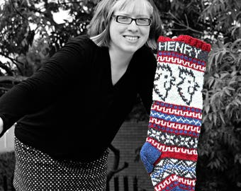 Holiday Stocking, Custom Knit Stocking, Personalized Christmas Knit, Fairisle knit Santa Sock, Xmas Stocking, Rooster Christmas Stocking