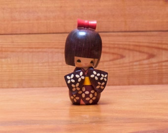 Vintage Small Wooden Kokheshi of Modern Design