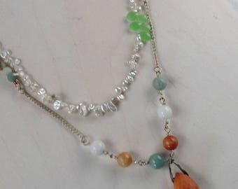 FIRE AGATE and PEARL Necklace Two Strand Necklace with Pearls and Multicolored Stones and Sterling Findings