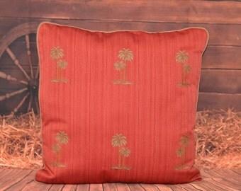Palmetto Throw Pillow Designer Fabric Rust Gold