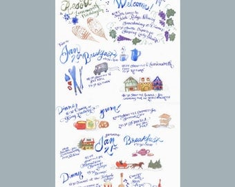 Illustrated intinerary/ program design - hand lettered & painted in watercolor - Bon Voyage!