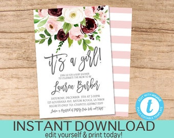 Baby Girl Shower Invitation, It's a girl, Watercolor Floral Baby invite, Winter baby shower, Maroon, Watercolor Invitation, Instant Download