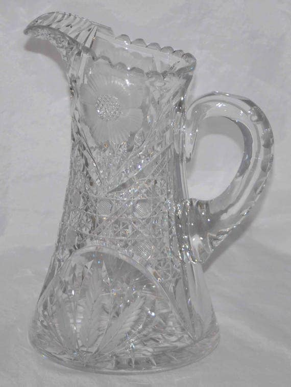 Rare Antique 1900 IRVING CUT GLASS Co Inc A B P Water Pitcher, Cross Hatch Cut, Intaglio, Floral & Leaf, Appld Handle, Triple Miter Cut Lip