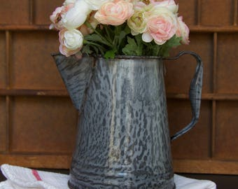 Vintage Gray Speckled Enamelware Coffee Pot Flower Vase Pitcher