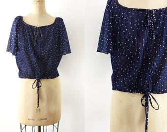 Vintage 1970s Navy Blue Polka Dot Blouse Tie Waist Shirt Tie Waist Top Navy Crop Top Polka Dot Crop Top Flutter Sleeve Small Medium Large XL