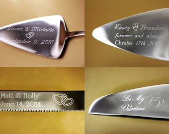 Heart Cake Server, Heart Cake Knife, Engraved Heart Handles, over 50 heart and 500 fonts to choose from