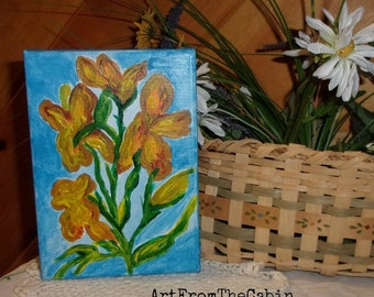 Flower Painting, Orange Lily, Acrylic Lily, Canvas Art, 5x7 inch Canvas, Blue, Green, Orange, Yellow, Original Art, ArtFromTheCabin